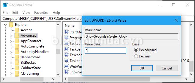 Cách hiển thị giây ở thanh taskbar Windows 10