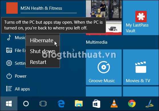 Làm thế nào để kích hoạt chế độ Hibernate trong Windows 10?