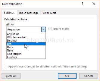 Tạo danh sách xổ xuống (Drop-down list) để chọn trong Excel