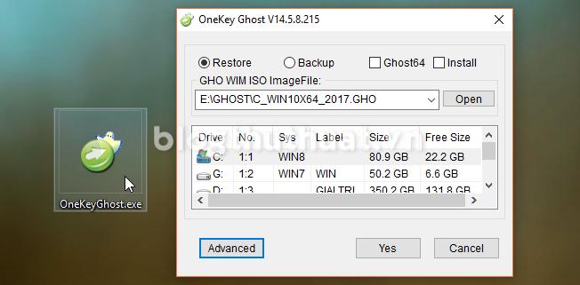Hướng dẫn tạo và bung file Ghost bằng Onekey Ghost Windows 7/8/10