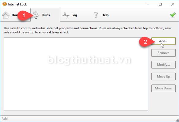 Cách chặn web, phần mềm kết nối đến internet bằng Internet Lock